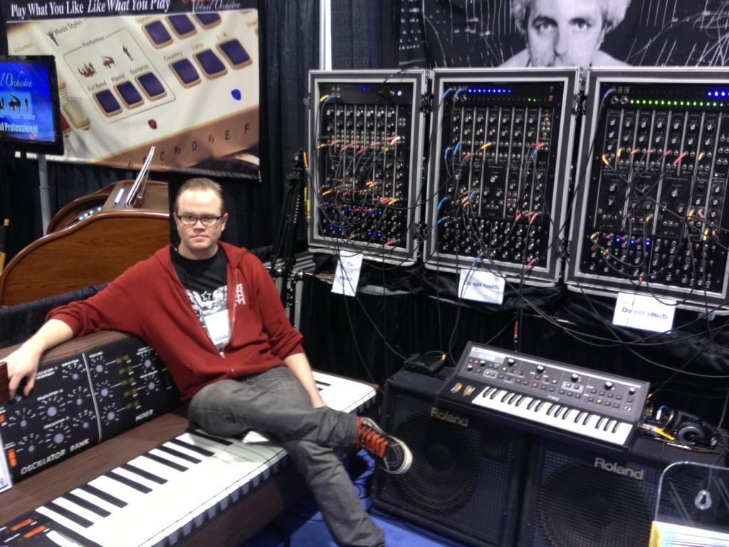 Moog Booth, NAMM, Bob Moog, Moog couch, Drew Skinner