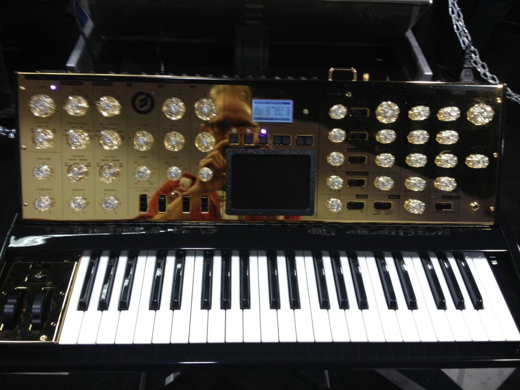 Moog Voyager, Moog 10th Anniversary Voyager, Moog gold voyager, gold, synth, NAMM, Drew Skinner