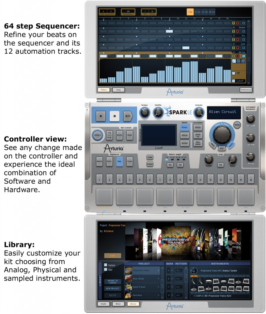 SparkLE, Arturia, hardware software hybrid drum machine