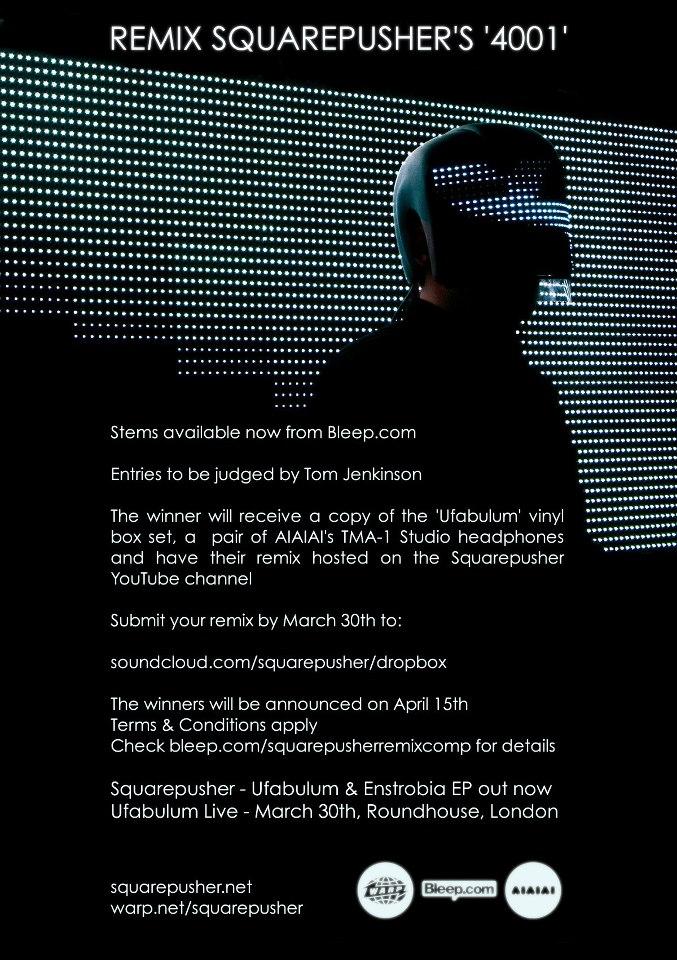 Squarepusher, Ufabulum, Enstrobia, LED helmet, Remix,